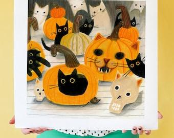 A Perfect Meowloween! Black Cat Art Print; Black Cat Wall Artwork, Cat-themed Home Decor, Halloween Gift, Pumpkin Cat Lover Art
