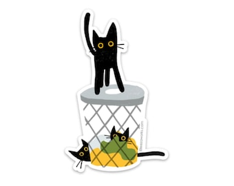 Cats In The Hamper! Vinyl Sticker, Cat Sticker, Black Cat, Cats, Cats In the Laundry Basket