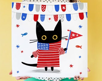 July 4Nigel the Cat In A Sweater, Black Cat Stars & Stripes, Cat lover Art Print, Wall Art, Independence Day, July Fourth, Red White Blue