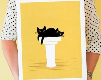 Cats in The Sink, Black Cats, Wall Art, Home Decor, Graphic, Modern Black Cat Art Print, Cat Bathroom Art