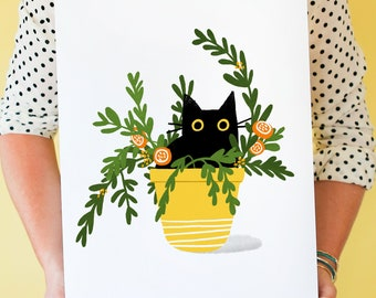 Hidey Cat! Black Cat Art Print in a Potted Plant; Black Cat Wall Artwork, Cat-themed Home Decor, Mother's Day Gift, Cat Lover Gift
