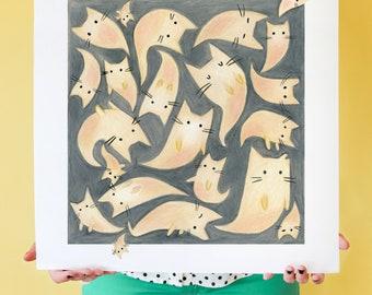 Ghost Kitties! Cat ghost art print, Spirit of Halloween, Ghoulish Art, Cat Art, Cat Wall Print, Home Decor, Cat Lover Gift, Halloween Decor