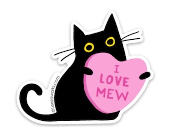 I Love Mew! Black Cat Vinyl Sticker, Cat Lover Decal Gift, Sticky Cat in a House Plant, Laptop Sticker, Waterproof Artwork, Valentines Day