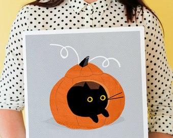 PUMPKIN LOAF  Black Cat Art Print / Black Cat Curled Up In A Pumpkin / Halloween Cat / Pumpkin Cat / Fall Art / Autumn Art