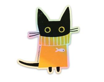Nigel in a Jumper Holographic Sticker, Cat Sticker, Black Cat, Cats, Yellow Jumper, Cat In A Sweater