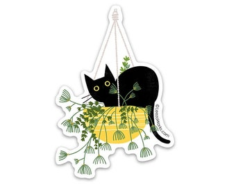 Black Cat in a Hanging Basket Vinyl Sticker, Waterproof Decal, Black Cat in House Plant, Adhesive Black Cat Art, Stickers, Cats in Plants