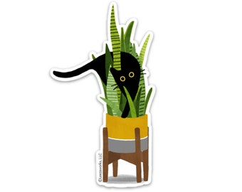 Wild Cat! Black Cat In a Snake Plant Vinyl Sticker, Cat Lover Decal Gift, Sticky Cat in a House Plant, Laptop Sticker, Waterproof Artwork