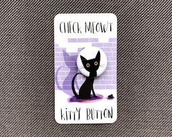 Black Cat Head Pin, Badge, Button, Flare