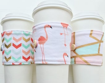 Coffee Cup Cozy, Mug Cozy, Coffee Cup Sleeve, Cup Cozy, Cup Sleeve, Reusable Coffee Sleeve - Pink Flamingo [127-129]