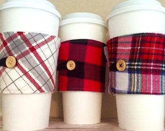 Coffee Cup Cozy, Plaid Mug Cozy, Coffee Cup Sleeve, Cup Cozy, Cup Sleeve, Reusable Coffee Sleeve - Flannel Plaid Cream, Buffalo Pink [46-48]
