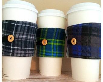 Coffee Cup Cozy, Mug Cozy, Coffee Cup Sleeve, Cup Cozy, Cup Sleeve, Reusable Coffee Sleeve - Flannel Plaid Black Green Blue [43-45]