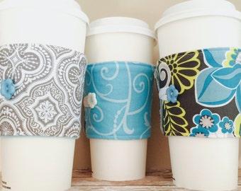 Coffee Cup Cozy, Mug Cozy, Coffee Cup Sleeve, Cup Cozy, Cup Sleeve, Reusable Coffee Sleeve - Aqua Grey [34-36]