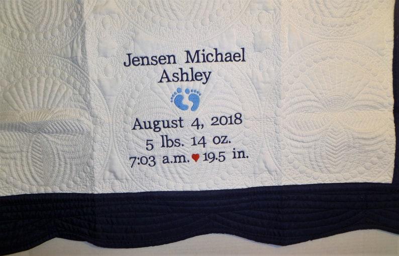 Personalized Baby Blanket Stats Quilt Monogram Quilt Embroidered Baby Quilt Custom Baby Quilt Baby Boy Baby Girl Newborn Gift Baby Gift