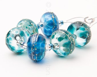 Teal Mix Silver Drizzles - Handmade Lampwork Glass Beads by Sarah Downton