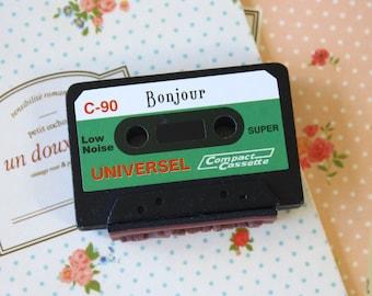 Bonjour Cassette Tape craft rubber stamp