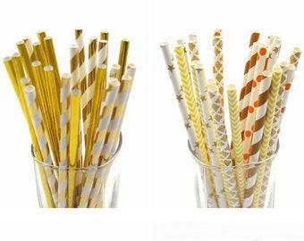 Set 906 Silver Foil /& Pastel mix designs paper straws multipack