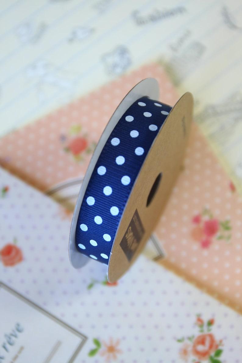 Navy Blue /& White Polka Dots grosgrain ribbon