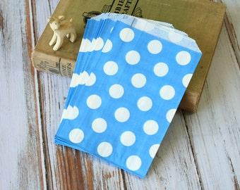 Light BLUE & big White Polka Dots Paper Bags