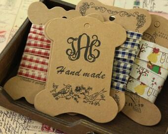 5pcs Handmade Birds Kraft bobbin ribbon thread yarn card spool