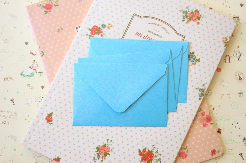 Baby Blue Pearlescent mini envelopes and note cards