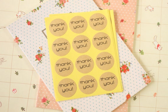 Thank You Kraft Paper label stickers 48pc round craft baking  d8b0e9423c12