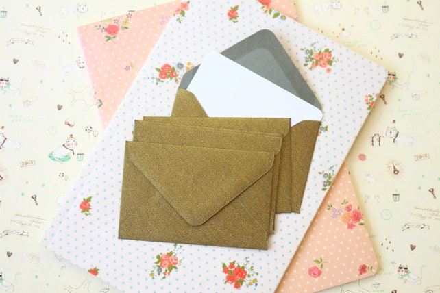 Champagne Green textured mini envelopes and note cards