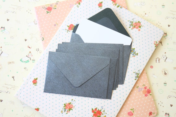 Mid Grey textured mini envelopes and note cards
