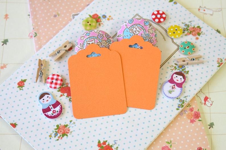 Apricot Orange fancy ornate scallop tags