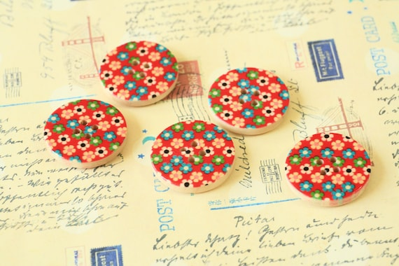 Set 3 Red Craft Ideas Flower Printed Wood Round Buttons Etsy