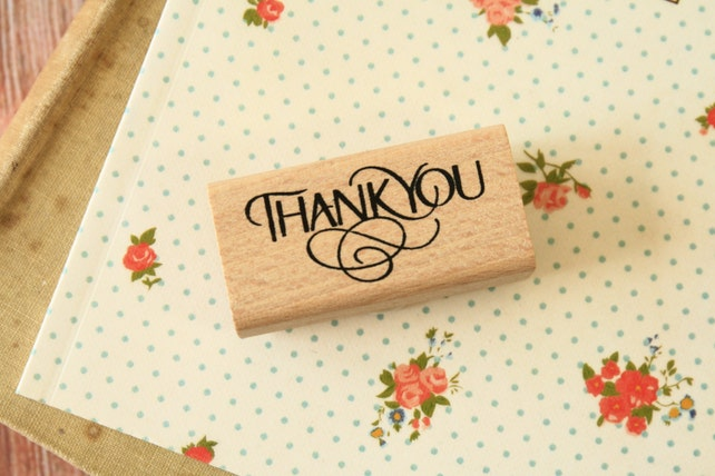 Fancy Wood THANK YOU message rubber stamp