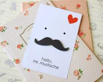 Hello Mr MUSTACHE cartoon Cut Out shape Sticker Notes