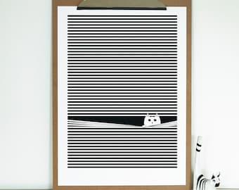 Cat Art - Cat Print - Home Decor - Cat Lover Print - Cat Illustration - Cat Gifts - Wall Art - Op Art