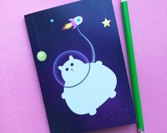 Cat Notebook, Sketchbook with lined pages, cute sketchbook, colourful stationery booklet, A6 book