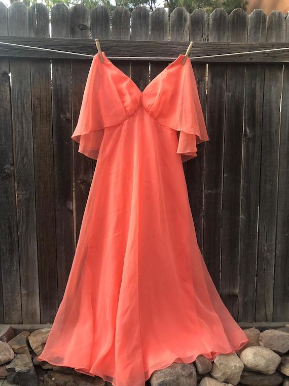 70s Dancing Queen Formal Coral Dress - M