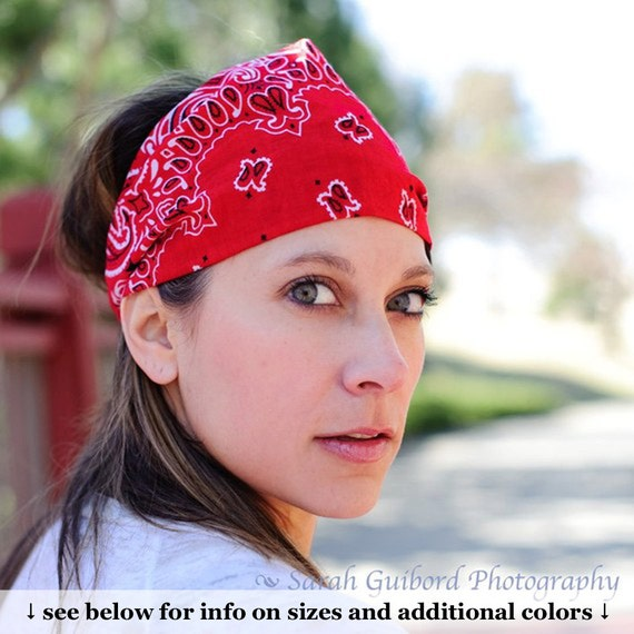 Items Similar To Head Scarf Red Bandana Motorcycle