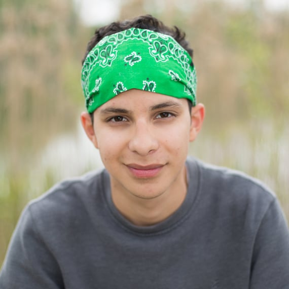 Mens Kelly Green Headband Wide Bandana 5 Inches 4 Sizes