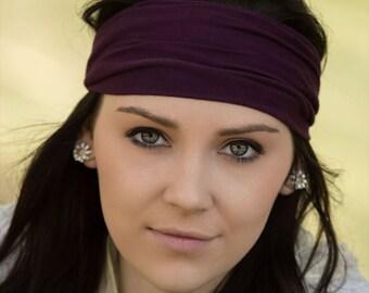Hair Headband, Plum Purple Ear Warmer, Exercise Headband, Cloth Head Scarf, Eggplant Purple Yoga Hair Band (#1107) S M L X