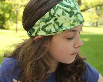 Fashion Hair Band, Green Bandanna, Sports Bandana, Girl's Headwrap, Green Cotton Head Wrap (#4148) S