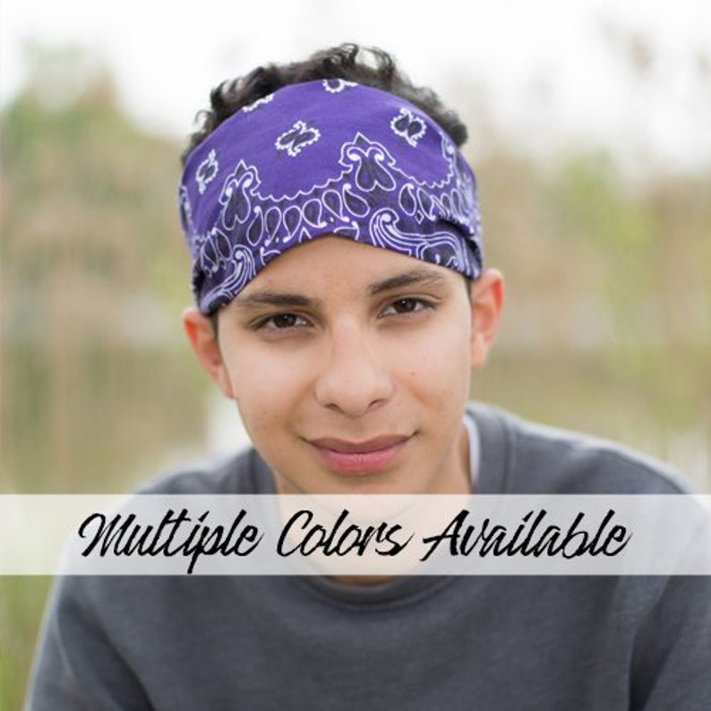 Men s Bandana Headband Purple Bandanna Orange Head  f5c00965d18