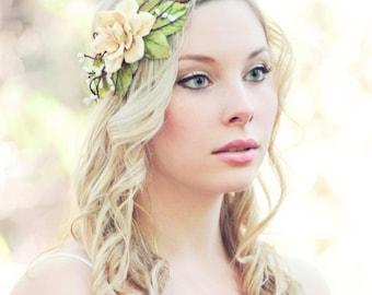 wedding headband, bridal head piece, garden party, pine cone rose head piece, woodland wedding