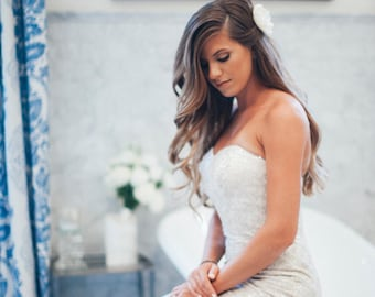 ivory magnolia bridal flower, ivory wedding flower, Ivory magnolia wedding flower hair clip, flower for hair