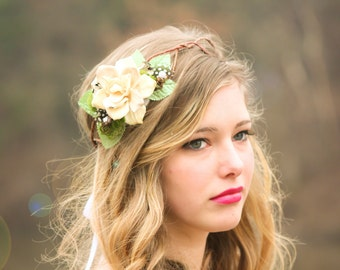 rustic bridal headpiece, woodland wedding, pine cone rose - A Love Like Ours -