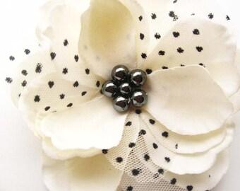 flower hair clip, magnolia pin, wedding hair accesories, bridesmaid hair clip, polka dot  Magnolia