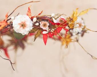 autumn wedding, autumn crown, rustic wedding, bridal hair band, autumn bridal crown