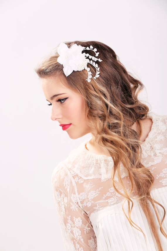 White bridal flower clip wedding hair accessories wedding etsy image 0 mightylinksfo