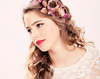 wedding hair accessories, bridal flower hair crown, woodland wedding, Magenata and mocha flower, milinery flower