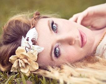 pinecone rose floral wreath, wedding headband, ivory bridal head piece, pine cone rose head piece, rustic wedding
