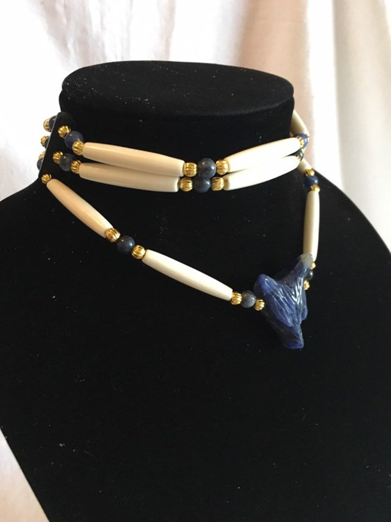 sodalite stone gold plated beads blue denim wolf head pendant or necklace 2 row bone hair pipe