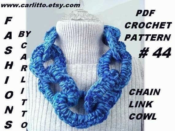 Crochet Pattern Chain Link Cowl Scarf Num 44 Crochet For Etsy
