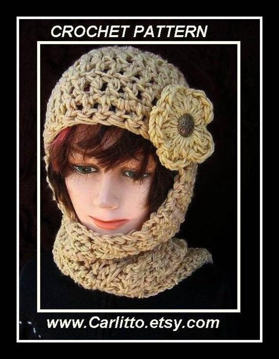 Crochet Hat Pattern Hat Scarf Hat Crochet Pattern Hood Etsy